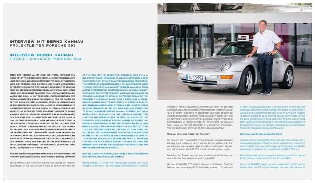 """Einblick in das Buch LIMITED EDITION """"Porsche 993 – 25 YEARS 1994 – 2019"""": Interview mit Bernd Kahnau"""